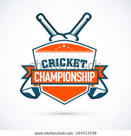 Cricket championship sticker tag or label design on shiny grey background