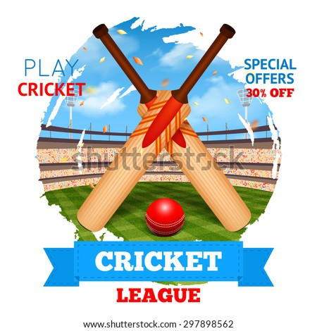 Cricket concept with game bats and ball and stadium on background vector illustration - stock vector