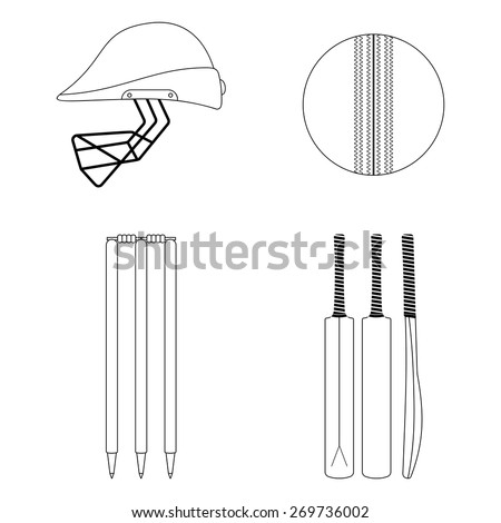 Cricket equipment icons set. Sketch black outlined illustration isolated on white. Vector  - stock vector