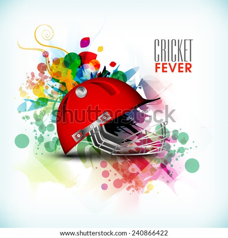Cricket Fever concept with batsman helmet on colorful abstract background. - stock vector