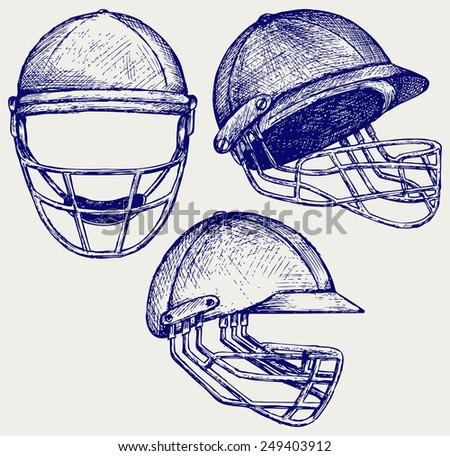 Cricket helmet. Doodle style - stock vector