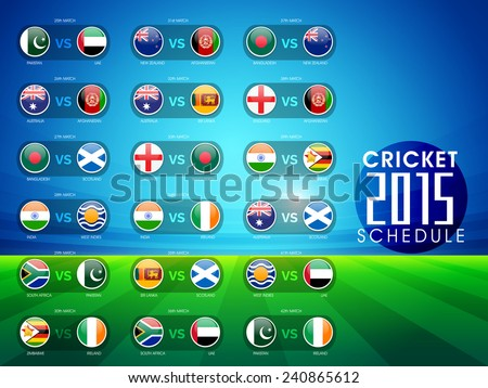 Cricket match 2015 schedule with countries flags on blue and green background. - stock vector