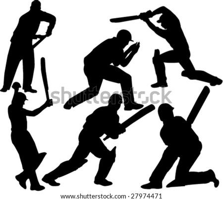 cricket player collection vector - stock vector