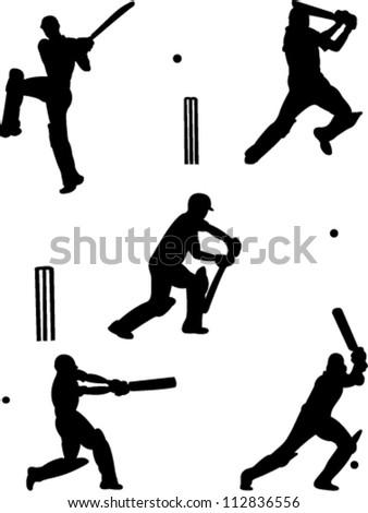 cricket players collection vector - stock vector