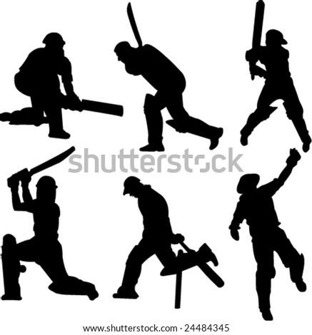 cricket players collection-vector - stock vector