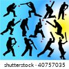 cricket players 2 vector silhouettes - stock
