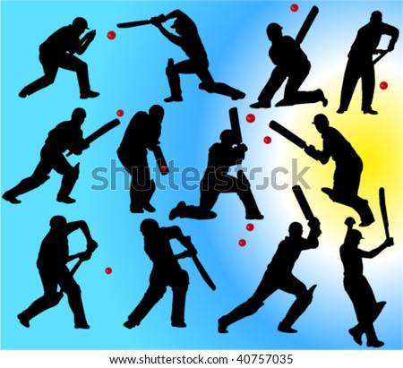cricket players 2 vector silhouettes - stock vector