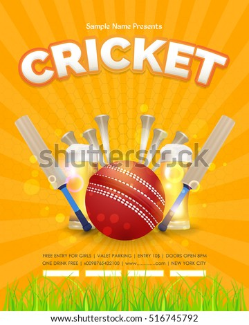 Cricket Poster Event Info Postcard Design and Sports Ad Web Banner or Vertical Card Template, Cricketer Ball and Stick Illustration. Sports Vector Background