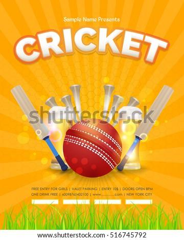 Cricket Poster Event Info Postcard Design Stock Vector 516745792 ...