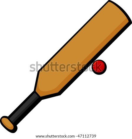 cricket sport bat and ball - stock vector