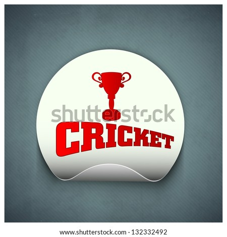 Cricket Sports Sticker Label Trophy Text Stock Vector 132332492