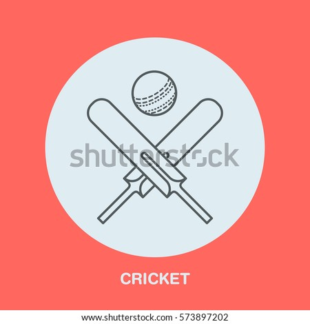 Vector Line Icons Cricket Sport Game Stock Vector 551267452 ...