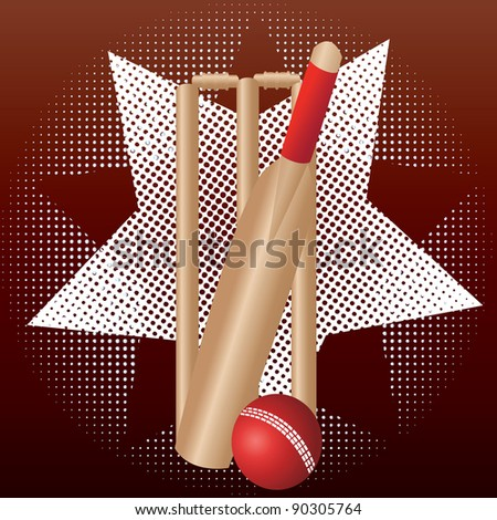 cricket wicket and bat and ball with star and dot background - stock vector