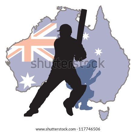 criket player at background Austra map - stock vector