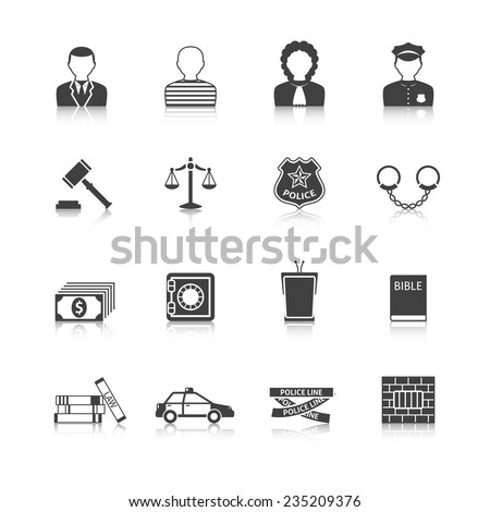 Crime and punishment legal system  tribunal attorney investigation documents icons set  black abstract isolated vector illustration
