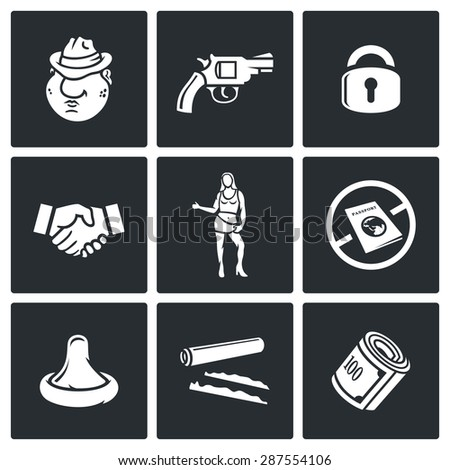 Crime and the slave trade icons set. Vector Illustration. Isolated Flat Icons collection on a black background for design - stock vector
