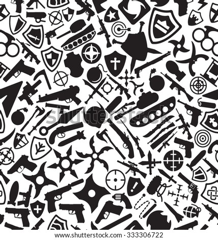 Crime and Weapons Solid Icons Pattern - stock vector