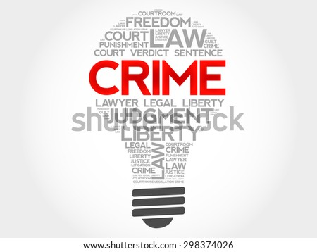 Crime bulb word cloud concept - stock vector
