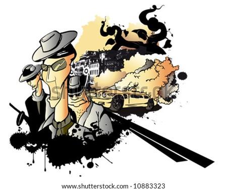 crime city - stock vector