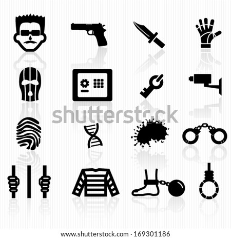 crime icons - stock vector