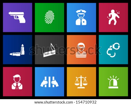 Crime icons in Metro style - stock vector