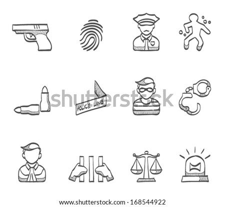 Crime icons in sketch. - stock vector