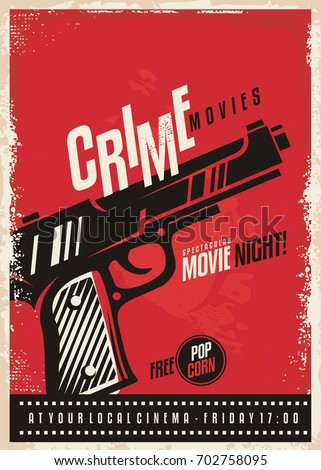 Crime Movies Poster Design Template With Gun On Red Background Pistol Graphic Cinema