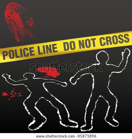 Crime scene with police tape corpse chalk outlines and bloody fingerprint - stock vector