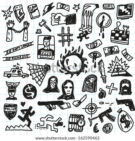Crime, violence  - doodles set  - stock vector