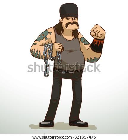 Criminal biker, vector - stock vector