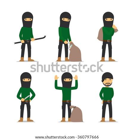 Criminal man. Burglar and thief, robber and bandit vector character. - stock vector