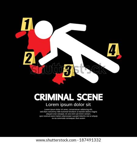 Criminal Scene Vector Illustration - stock vector