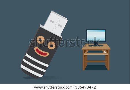 Criminal USB driver cartoon is concept of robbery data in computer - stock vector