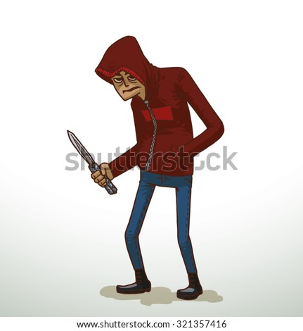 Criminal with a knife, vector - stock vector