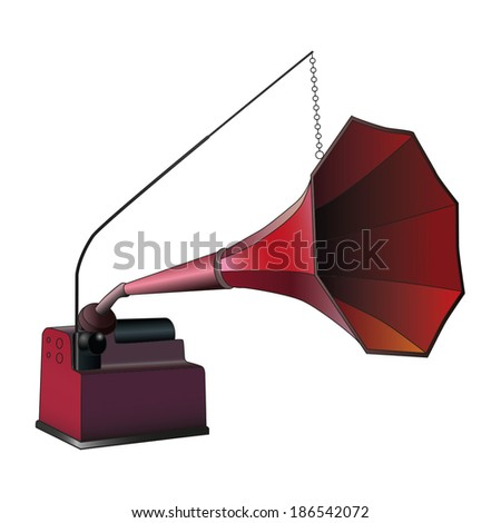 Crimson phonograph, vintage gramophone vector illustration - stock vector