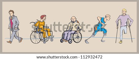 cripples - stock vector
