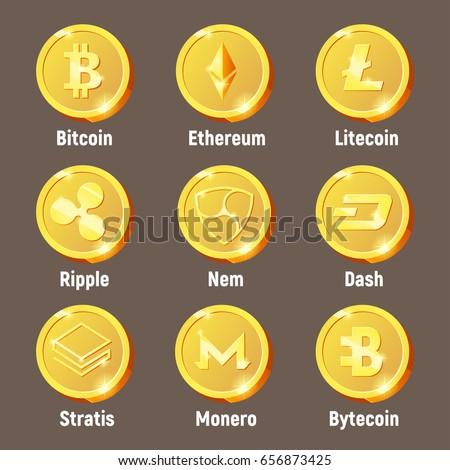 Cripto Currency Logo Coins Monero Bytecoin Stratis Dash Litecoin Nem