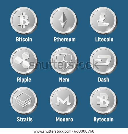 Cripto Currency Logo Silver Coins Monero Bytecoin Stratis Dash Litecoin