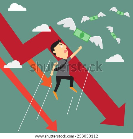 Crisis graph with money flying away from businessman, business crisis graph downtrend. vector illustration.