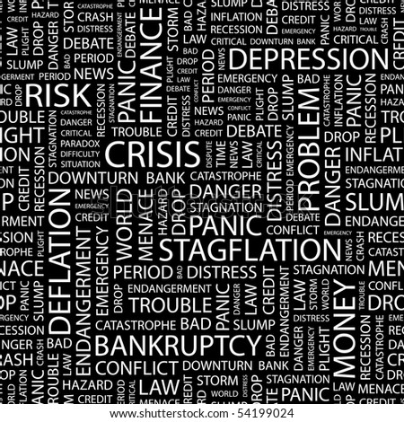CRISIS. Seamless vector background. Wordcloud illustration.