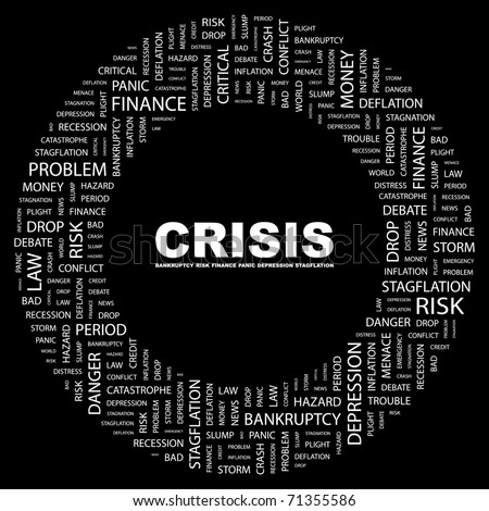 CRISIS. Word collage on black background. Vector illustration. Illustration with different association terms.