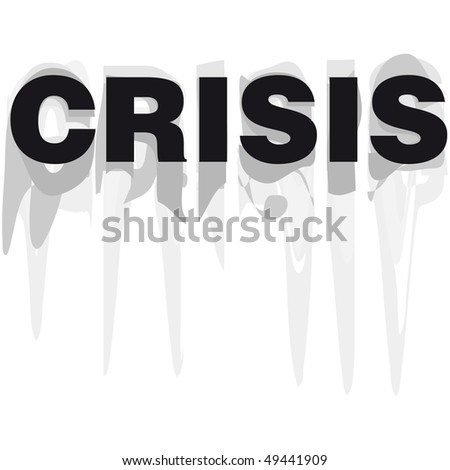Crisis word vector illustration grunge cartoon black and white - stock vector
