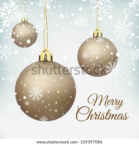 Cristmas Tree decorations on winter background with snow and snowflakes. Golden Christmas balls. Vector illustration. - stock vector
