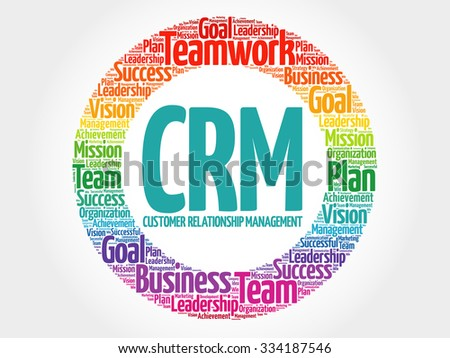 CRM - Customer Relationship Management circle stamp word cloud, business concept - stock vector