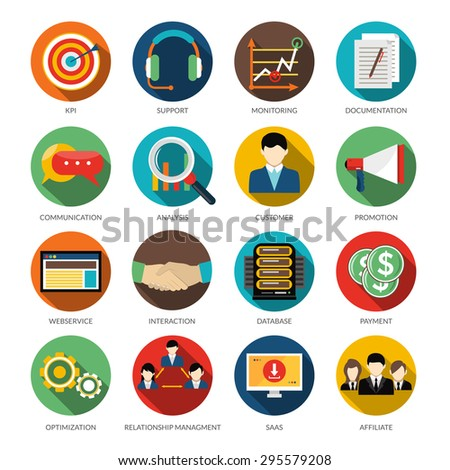 Crm Round Icons Set Monitoring Support Stock Vector 295579208
