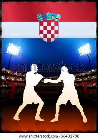 Croatia Boxing on Stadium Background Original Illustration - stock vector