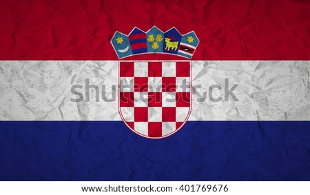 Croatian  flag with the effect of crumpled paper and grunge - stock vector