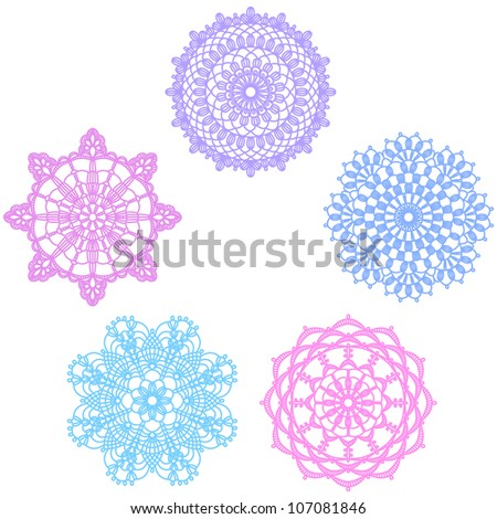 crochet lace pattern - stock vector
