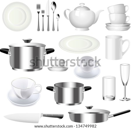 crockery and kitchen ware photo-realistic vector set - stock vector