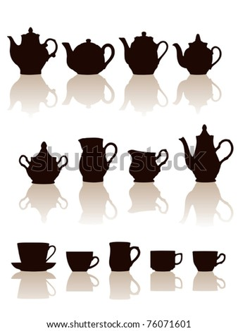 Crockery objects silhouettes set with reflection. Vector illustration. - stock vector